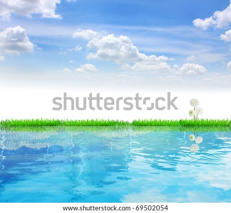 River and grass - stock photo