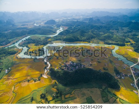 River and rice field from drone in Cao Bang province, Vietnam