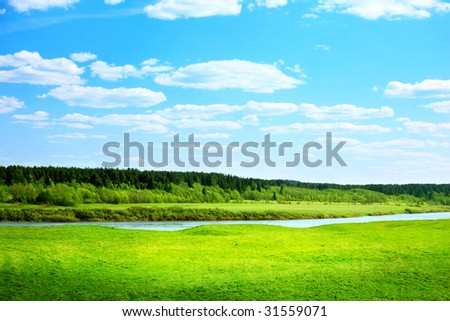river and spring field of grass