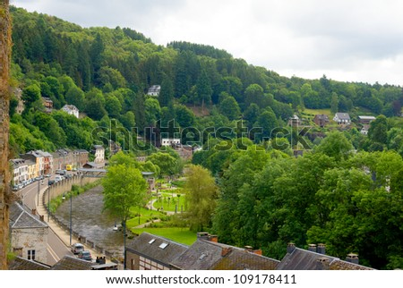 River and village in the ardennes (belgium) - stock photo