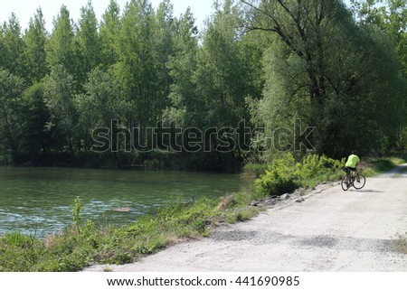 River arms of Danube river in Bodíky, Slovakia - stock photo