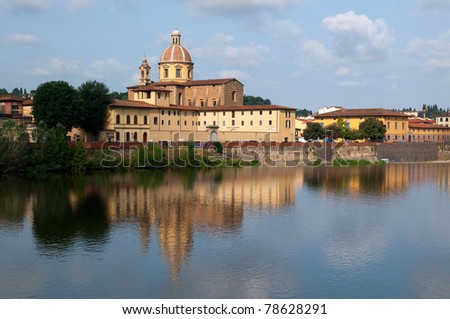 River Arno and church San Frediano in Cestello in Florence, Tuscany, Italy. - stock photo