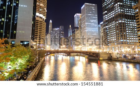 River at Chicago downtown at night - stock photo