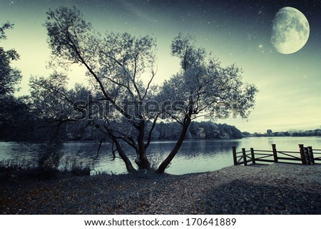 river at night. Elements of this image furnished by NASA - stock photo