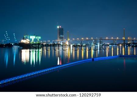 River at night in Bangkok - stock photo