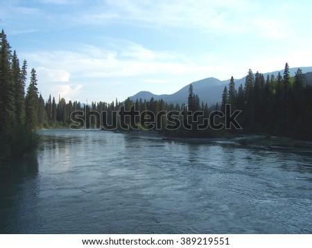 River at twilight - stock photo