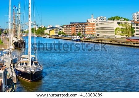 River Aura in Turku. Finland, Scandinavia, Europe - stock photo