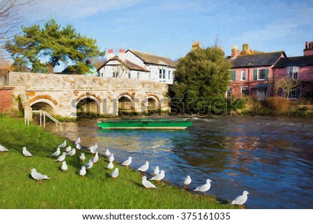 River Avon Christchurch Dorset England UK with bridge and green boat and pigeons near to Bournemouth and the New Forest illustration like oil painting