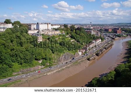 River Avon that passes through the deep Avon Gorge seen from The Clifton Suspension Bridge in Bristol - stock photo
