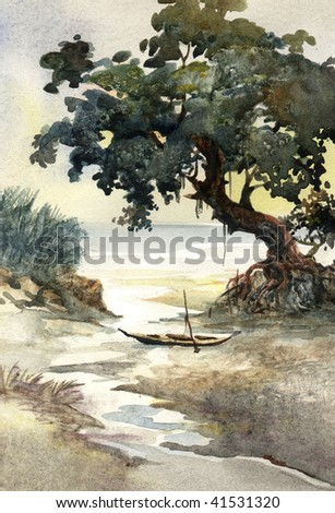 river bank watercolor - stock photo