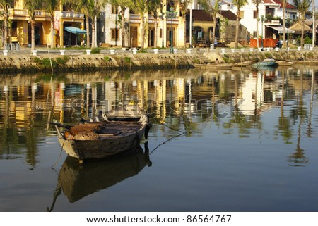 River boat in Hoi An in Vietnam South East Asia - stock photo