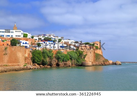 River Bou Regreg and tall walls of the Kasbah of the Udayas in Rabat, Morocco - stock photo