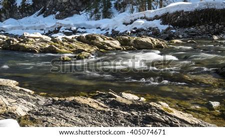 river Breitach in the Allgäu Alps in Bavaria - stock photo