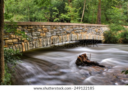 River Bridge and running river in HDR. - stock photo