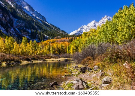 River by Maroon Bells - stock photo