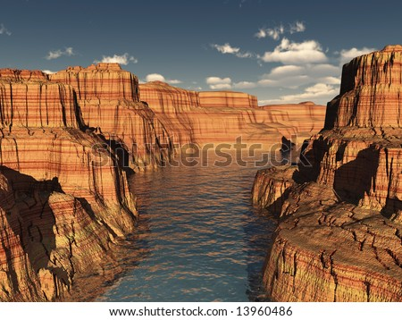 River canyon rock layers in summer with hard shadows and simple deep blue sky. - stock photo