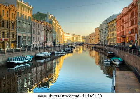 River channel with boats in Saint-Petersburg. Spring - stock photo