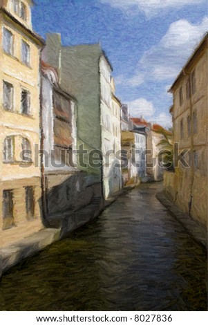 River Chertovka, Prague, photograph stylized as an old water color painting