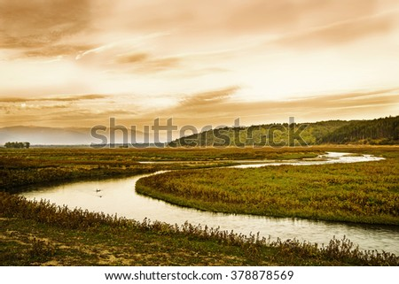 river curves  - stock photo