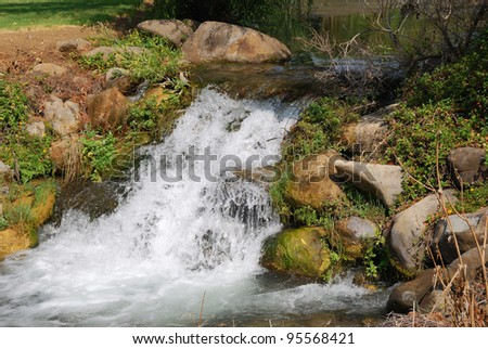 River Dan in the Upper Galilee in northern Israel. - stock photo