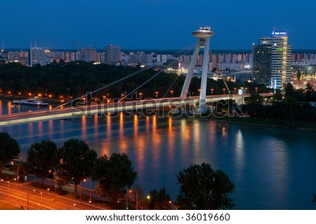 river Danube and New bridge seen from the Bratislava castle, Slovakia - stock photo