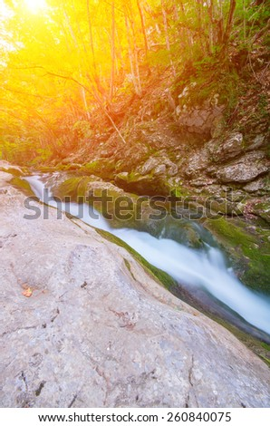 River deep in mountain forest with sunlight. Natural composition - stock photo