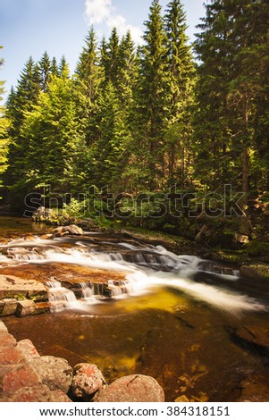River Elbe in the beginning of journey in Krkonose national park, Czech Republic - stock photo