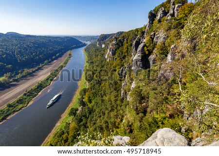 River Elbe, seen from the Bastei in Saxon Switzerland, Germany.