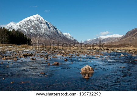 River Etive looking towards Buachaille Etive Mor, Glencoe, Scotland - stock photo