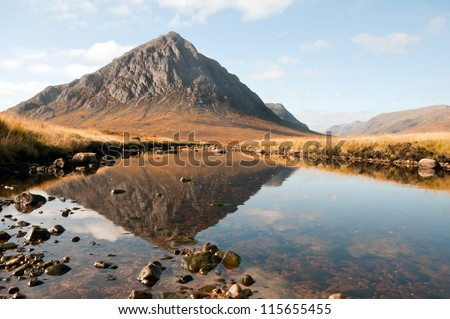 River etive with reflections of the glorious buachaille etive in the background.