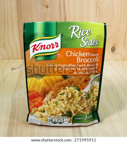 RIVER FALLS,WISCONSIN-APRIL 23,2015: A bag of Knorr brand Chicken and Broccoli Rice. Knorr is a German brand headquartered in Heilbronn,Germany. - stock photo