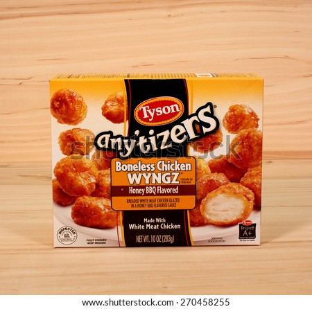 RIVER FALLS,WISCONSIN-APRIL 16,2015: A box of Tyson boneless chicken wings. Tyson Foods Incorporated is based in  Springdale,Arkansas. - stock photo