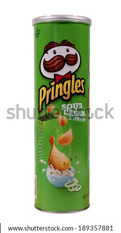 RIVER FALLS,WISCONSIN-APRIL 26, 2014: A can of Pringles Sour Cream and Onion chips. Pringles is a brand owned by The Kellogg Company. - stock photo