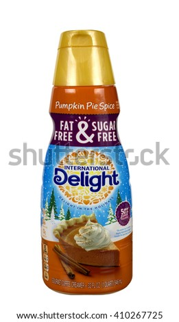 RIVER FALLS,WISCONSIN-APRIL 24,2016: A container of International Delight brand Pumpkin Pie Spice coffee creamer. - stock photo