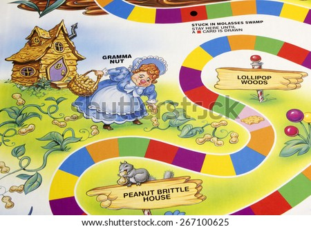 RIVER FALLS,WISCONSIN-APRIL 6,2015: A section of the Candy Land game board featuring Gramma Nut. Candy Land was first published in Nineteen Forty Nine. - stock photo