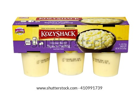 RIVER FALLS,WISCONSIN-APRIL 24,2016: A six pack of KozyShack brand Tapioca pudding. KozyShack is headquartered in Hicksville,New York. - stock photo