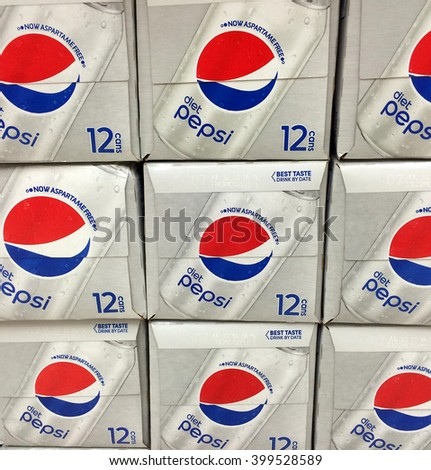 RIVER FALLS,WISCONSIN-APRIL 1,2016: Several boxes of Diet Pepsi soft drink. Pepsi is manufactured by PepsiCo.