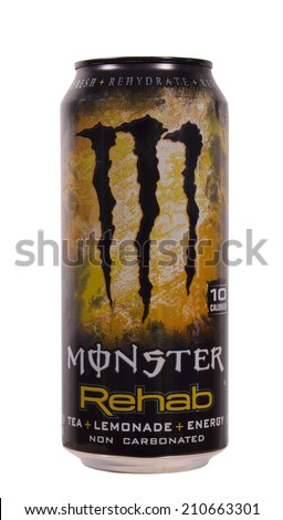 RIVER FALLS,WISCONSIN-AUGUST 13,2014: A can of Monster Rehab Energy Drink. This product is manufactured for Monster Energy Company of Corona,California. - stock photo