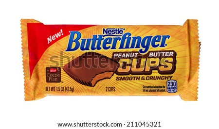 RIVER FALLS,WISCONSIN-AUGUST 14,2014: A package of Nestle Butterfinger peanut butter cups. Nestle is the largest food company in the world based on revenues - stock photo