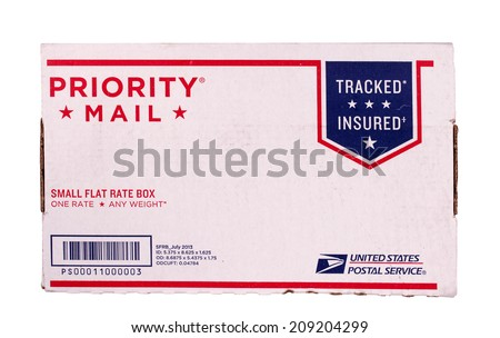 RIVER FALLS,WISCONSIN-AUGUST 04,2014: A United States Postal Service priority mail carton. Benjamin Franklin was appointed the fires postmaster general in 1775. - stock photo
