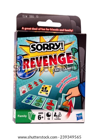 RIVER FALLS,WISCONSIN-DECEMBER 22,2014: Revenge card game from Hasbro. Hasbro Incorporated is one of the largest toy makers in the world. - stock photo