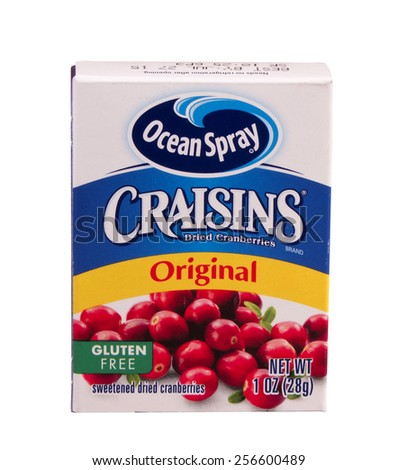 RIVER FALLS,WISCONSIN-FEBRUARY 27,2015: A box of Ocean Spray craisins. Craisins are sweetened and dried cranberries. - stock photo