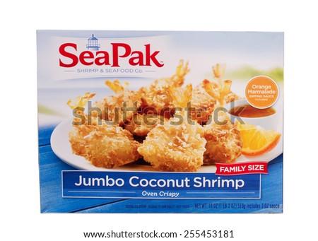 RIVER FALLS,WISCONSIN-FEBRUARY 24,2015: A box of SeaPak brand Jumbo Coconut Shrimp. SeaPak Shrimp Company is located in Saint Simons Island,Georgia. - stock photo