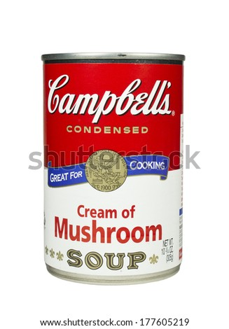 RIVER FALLS,WISCONSIN-FEBRUARY 19,2014: A can of Campbell's Cream of Mushroom soup. Campbell's is an American producer of canned soups and related products. - stock photo