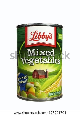 RIVER FALLS,WISCONSIN-FEBRUARY 09,2014: A can of Libby's mixed vegetables. Libby's is an American based food company known for its canned foods. - stock photo