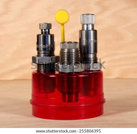 RIVER FALLS,WISCONSIN-FEBRUARY 25,2015: A set of Lee rifle reloading dies. These dies are produced by Lee Precision Inc. of Hartford,Wisconsin. - stock photo