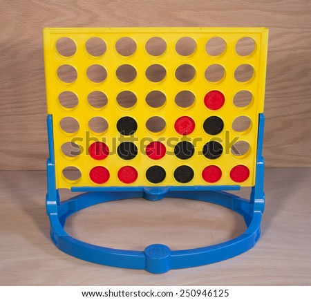 RIVER FALLS,WISCONSIN-FEBRUARY 08,2015: A vintage Connect Four game by Milton Bradley. Milton Bradley is now a subsidiary of Hasbro. - stock photo