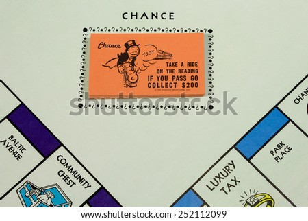 RIVER FALLS,WISCONSIN-FEBRUARY 12,2015: Closeup view of a Monopoly board showing the Chance cards. Monopoly originated in the United States in Nineteen Hundred Three. - stock photo
