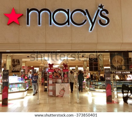 RIVER FALLS,WISCONSIN-FEBRUARY 08,2016: Shopping day at Macy's at the local retail mall. - stock photo