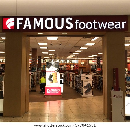 RIVER FALLS,WISCONSIN-FEBRUARY 12,2016: The Famous Footwear sign and retail store. Famous Footwear is a division of Caleres Incorporated. - stock photo